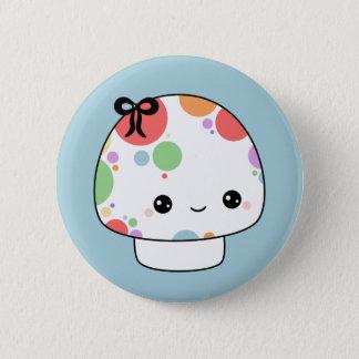 Kawaii Rainbow Mushroom 2 Inch Round Button
