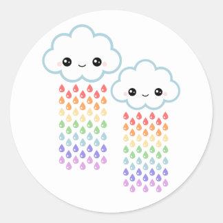 Kawaii Rainbow Rain Classic Round Sticker