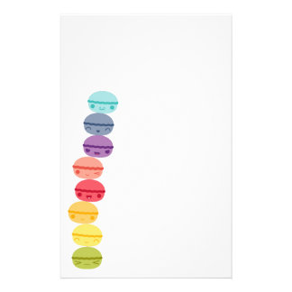 Kawaii Rainbow stacked Macarons Stationery Paper