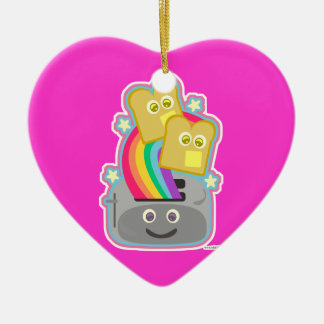 Kawaii Rainbow Toast Ceramic Ornament
