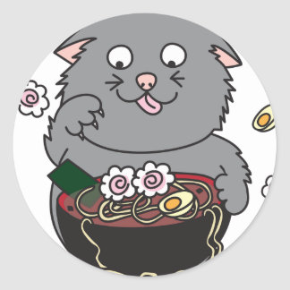 Kawaii Ramen Kitty Cat Round Sticker