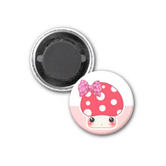 Kawaii red mushroom with cute polka dots bow magnet