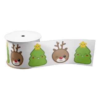 Kawaii Reindeer & Christmas Tree Ribbon Satin Ribbon