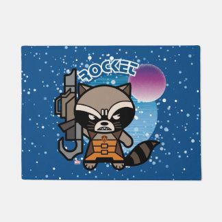 Kawaii Rocket Raccoon In Space Doormat