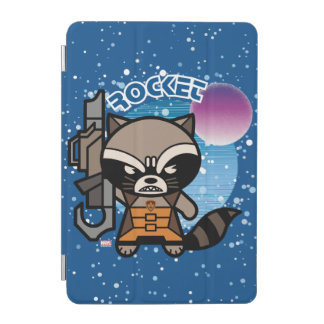 Kawaii Rocket Raccoon In Space iPad Mini Cover