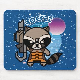 Kawaii Rocket Raccoon In Space Mouse Pad