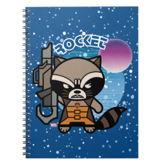 Kawaii Rocket Raccoon In Space Notebook