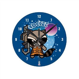 Kawaii Rocket Raccoon In Space Round Clock