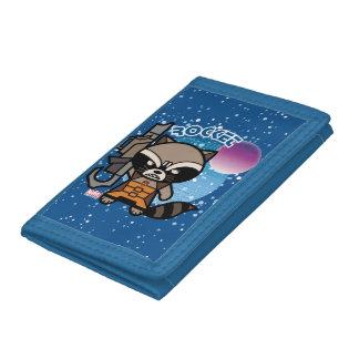 Kawaii Rocket Raccoon In Space Trifold Wallet