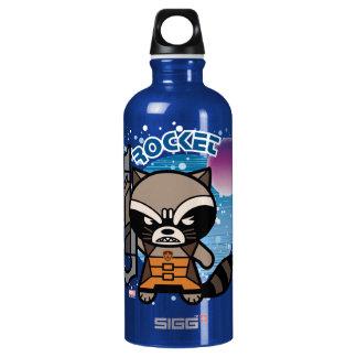 Kawaii Rocket Raccoon In Space Water Bottle
