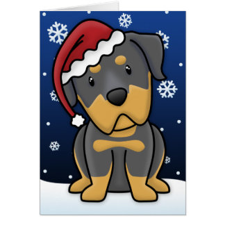 Kawaii Rottweiler Christmas Card