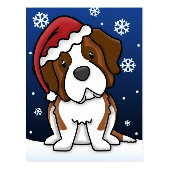 Kawaii Saint Bernard Christmas Postcard