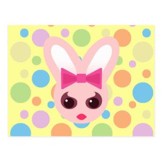 Kawaii Sassy Bunny Pink Bow & Mod Dots Postcard