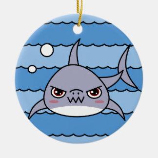 Kawaii Shark Round Ceramic Ornament