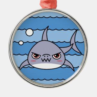 Kawaii Shark Silver-Colored Round Ornament