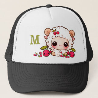 Kawaii sheep and cherries - Monogrammed Trucker Hat