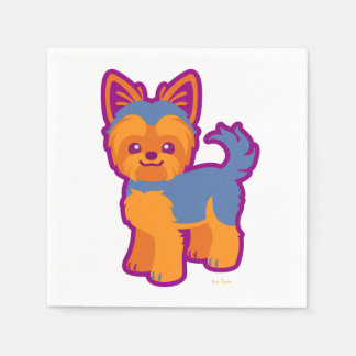 Kawaii Short Hair Yorkie Cartoon Dog Disposable Napkin