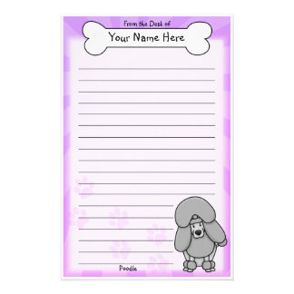 Kawaii Silver Poodle Stationery