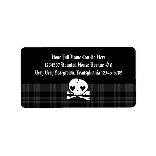 Kawaii Skull & Black Plaid Label