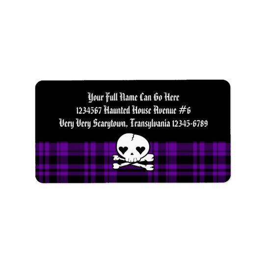 Kawaii Skull & Purple Plaid