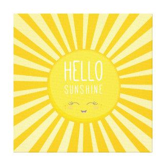 KAWAII SKY bright bold yellow smiling sun sunshine Canvas Print