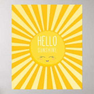 KAWAII SKY bright bold yellow smiling sun sunshine Poster