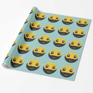 Kawaii Smiley Smiling with Beard & Mustache Wrapping Paper