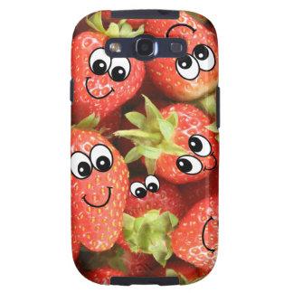Kawaii Smiley Strawberries Galaxy S3 Cover