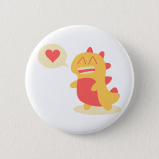 Kawaii smiling Dino talking about love 2 Inch Round Button