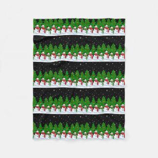 Kawaii Snowman Fleece Blanket