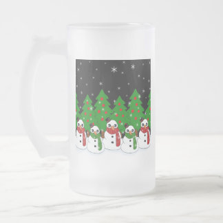 Kawaii Snowman Frosted Glass Beer Mug