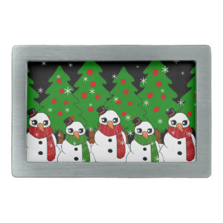 Kawaii Snowman Rectangular Belt Buckles