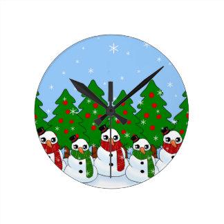 Kawaii Snowman Round Clock