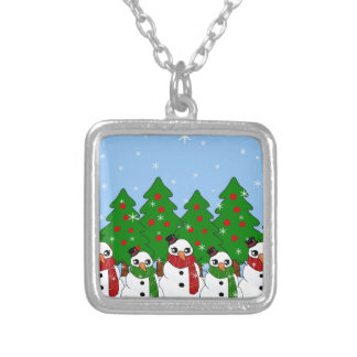 Kawaii Snowman Silver Plated Necklace