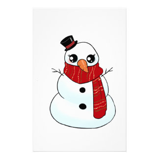 Kawaii Snowman Stationery