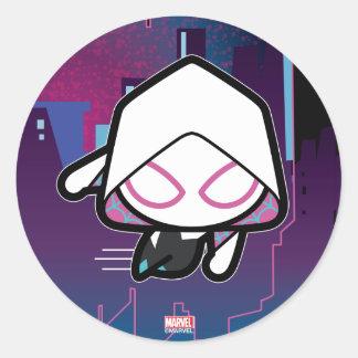 Kawaii Spider-Gwen City Skyline Classic Round Sticker