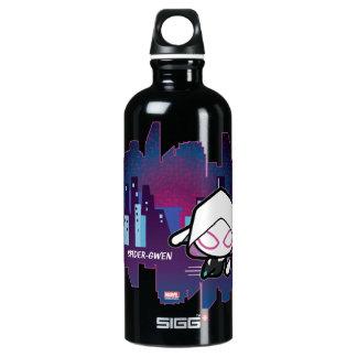 Kawaii Spider-Gwen City Skyline Water Bottle