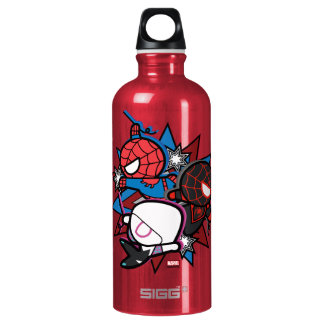 Kawaii Spider-Man, Spider-Gwen, & Miles Morales Water Bottle