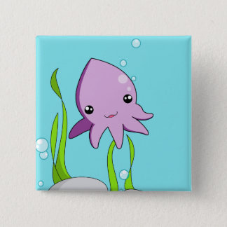 Kawaii Squid 2 Inch Square Button