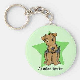 Kawaii Star Airedale Terrier Basic Round Button Keychain