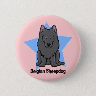 Kawaii Star Belgian Sheepdog 2 Inch Round Button