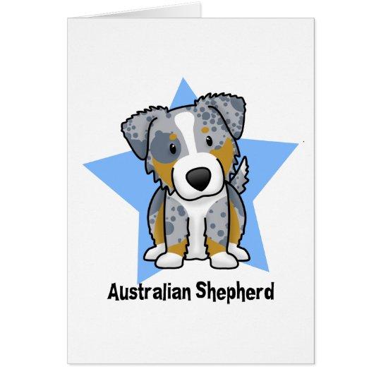 Kawaii Star Blue Merle Australian Shepherd Card