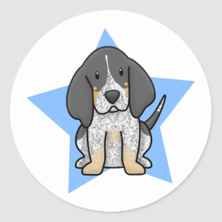 Kawaii Star Bluetick Coonhound Round Sticker