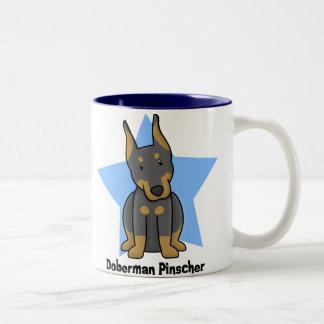 Kawaii Star Doberman Pinscher Two-Tone Coffee Mug
