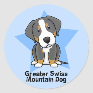 Kawaii Star Greater Swiss Mountain Dog Classic Round Sticker
