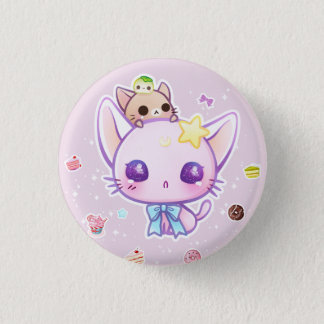 Kawaii star kitty with cute cakes 1 inch round button