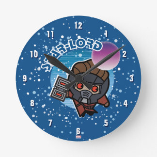 Kawaii Star-Lord In Space Round Clock