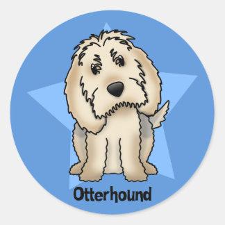 Kawaii Star Otterhound Round Sticker