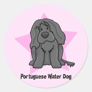 Kawaii Star Portuguese Water Dog Round Sticker