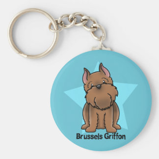 Kawaii Star Red Cropped Brussels Griffon Keychain